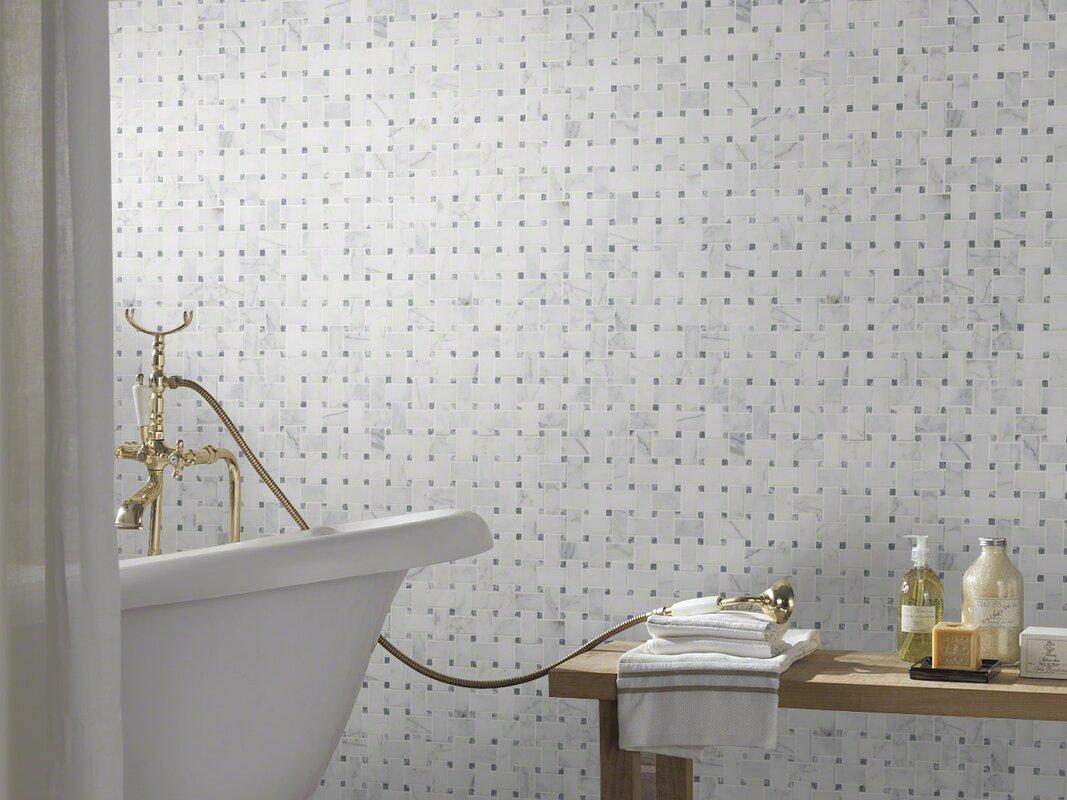 MSI Calacatta Cressa Basketweave Honed Marble Mosaic Tile in White ...