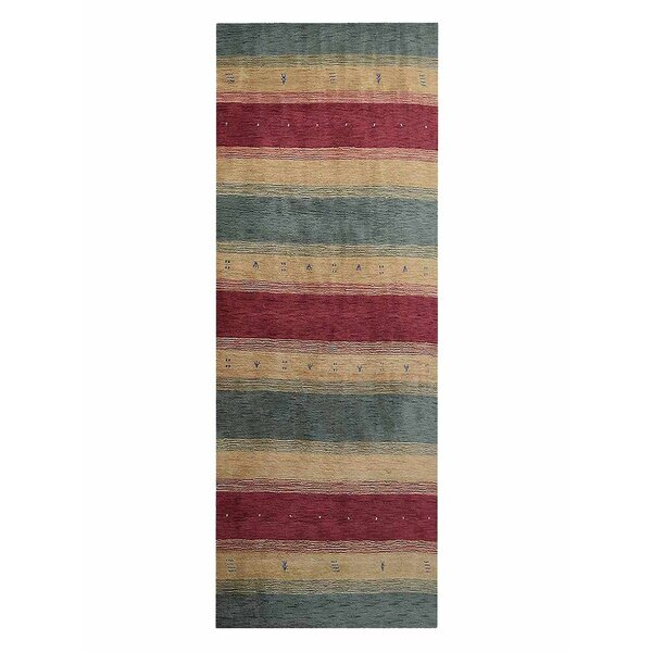 Avent Loom Hand-Woven Wool Red/Yellow/Green Area Rug by Loon Peak