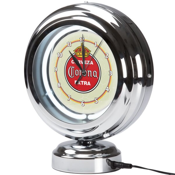 Corona Vintage Neon Table Clock by Trademark Global
