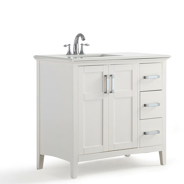 Winston Left Offset 37 Single Bathroom Vanity with Quartz Marble Top by Simpli Home