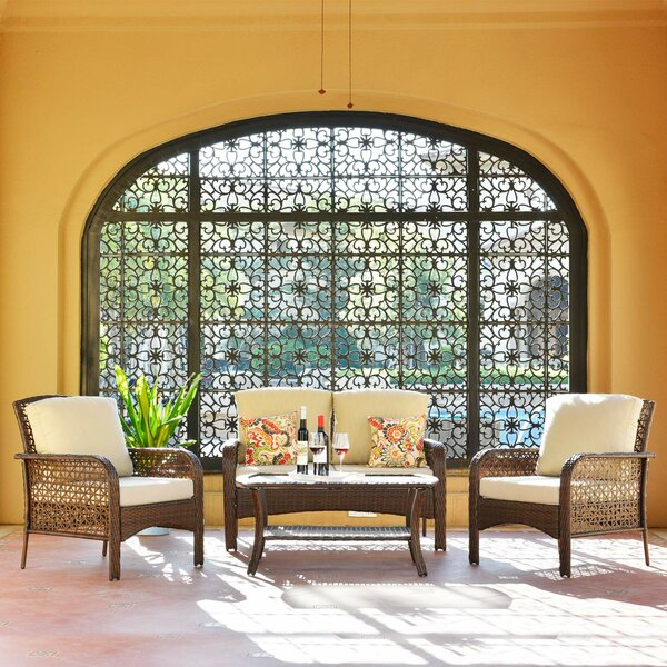 Cassville Dothea Patio 4 Piece Rattan Sofa Seating Group with Cushions by Red Barrel Studio