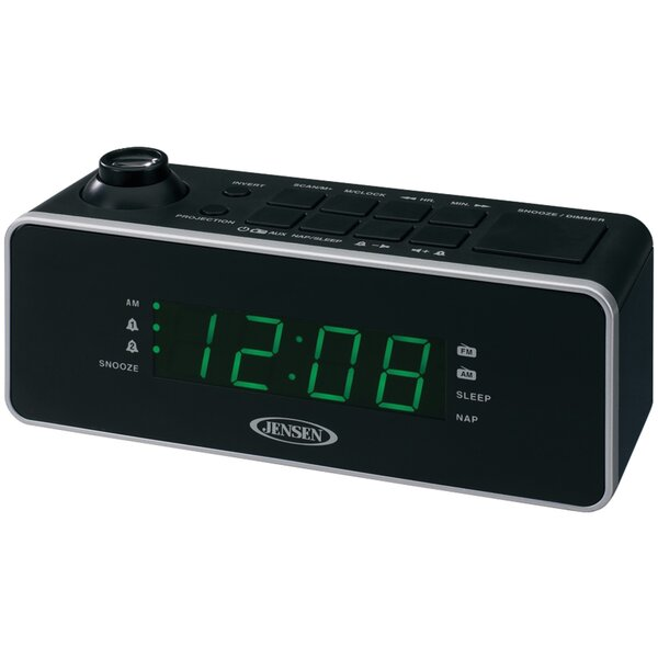 Dual Alarm Projection Radio Tabletop Clock by Jensen