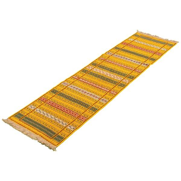Varnado Hand-Woven Flatweave Wool Gold Rug