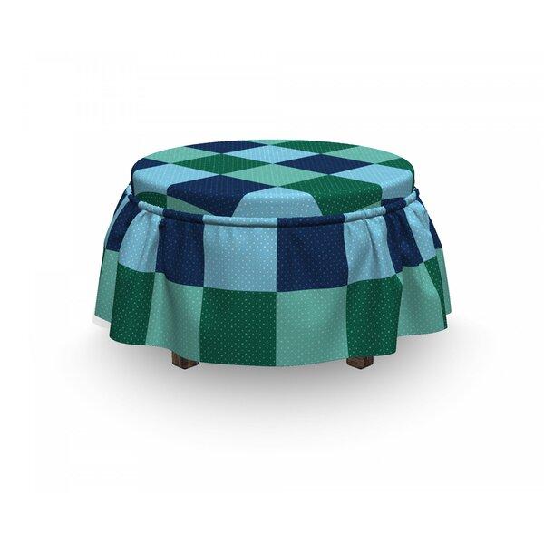 Polka Dot Squares 2 Piece Box Cushion Ottoman Slipcover Set By East Urban Home
