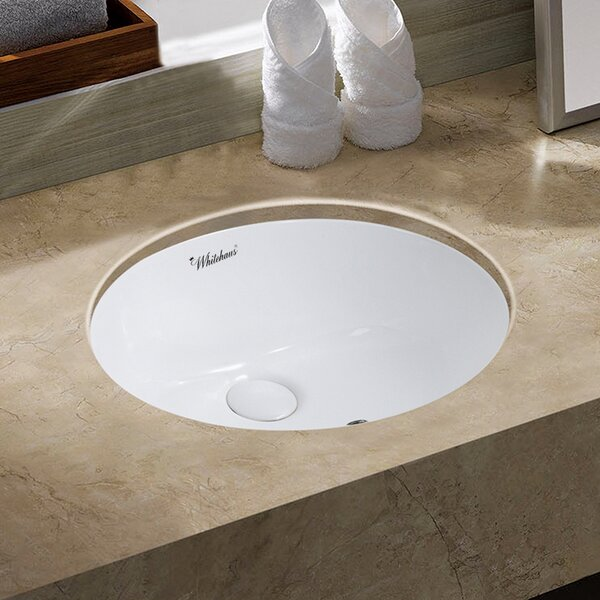 Isabella Plus Vitreous China Oval Undermount Bathroom Sink with Overflow