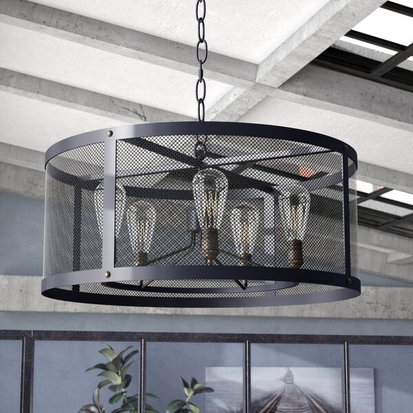 Kenisha 5 - Light Shaded Drum Chandelier by 17 Stories 17 Stories