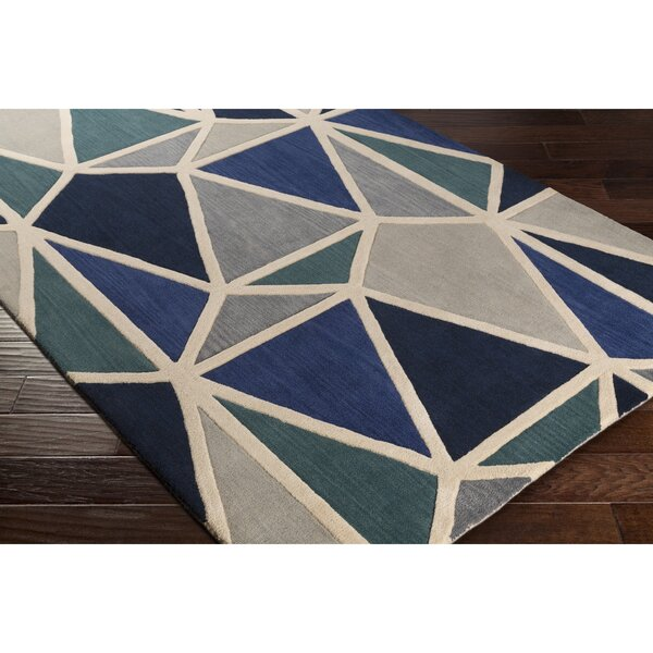 Vaughan Hand-Tufted Blue/Black Area Rug by Wrought Studio