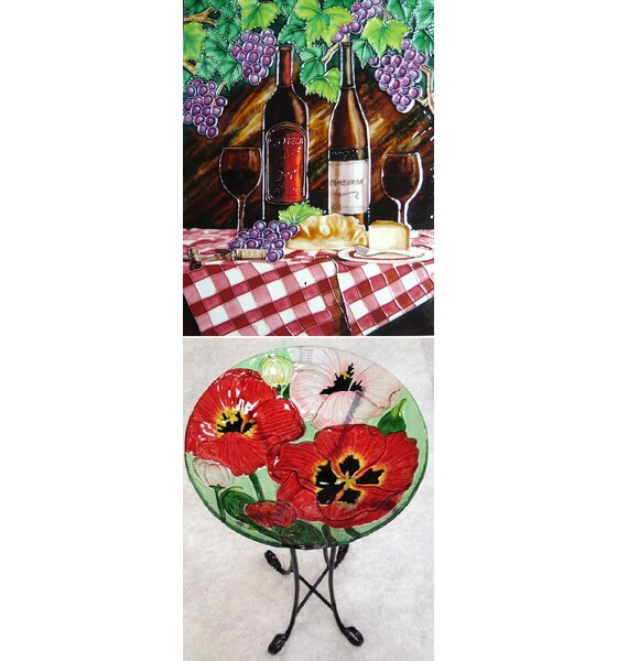 Red Table Cloth and Wine Tile Wall Decor by Continental Art Center