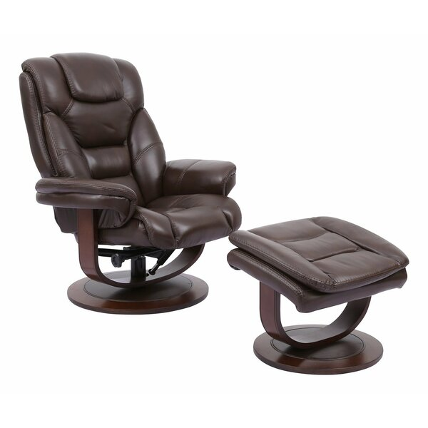 Canella Leather Manual Swivel Recliner with Ottoman Brayden Studio W002491481