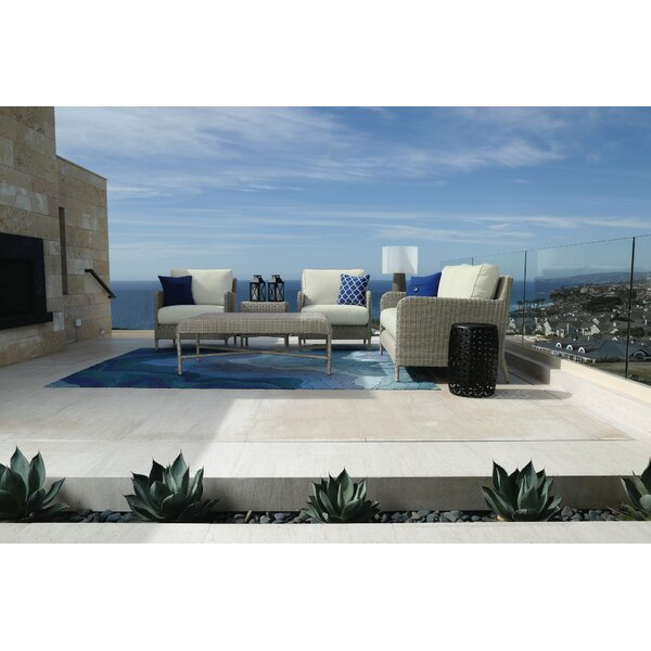 Manhattan 5 Piece Rattan Sunbrella Sectional Seating Group with Cushions by Sunset West Sunset West