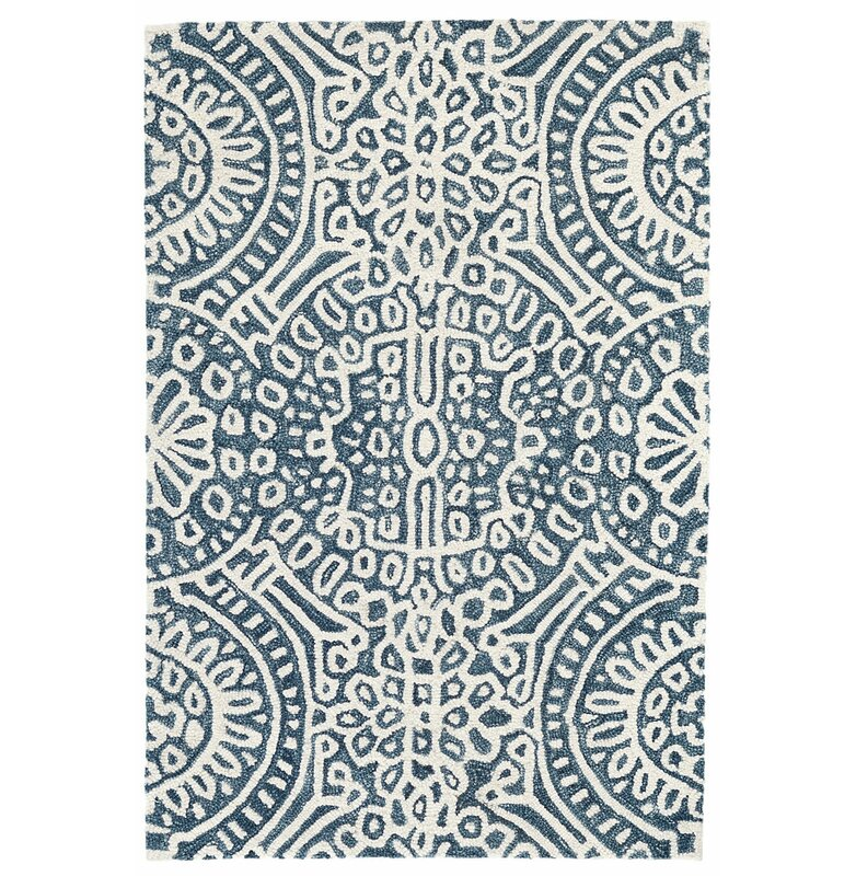 Dash And Albert Rugs Temple Hand Hooked Wool Bluewhite Area Rug