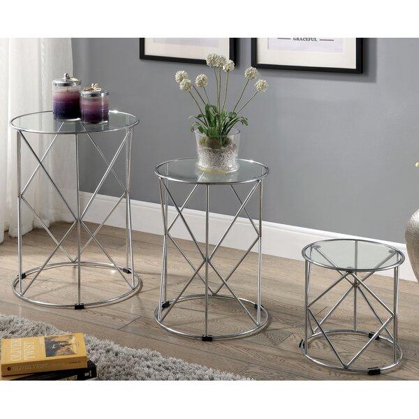 Nereine Glass Top Drum Nesting Tables By Orren Ellis