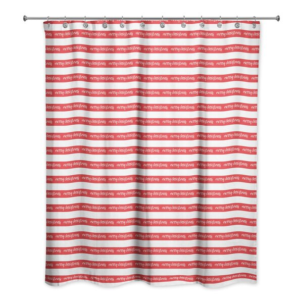 Merry Christmas Stripes Shower Curtain by The Holiday Aisle