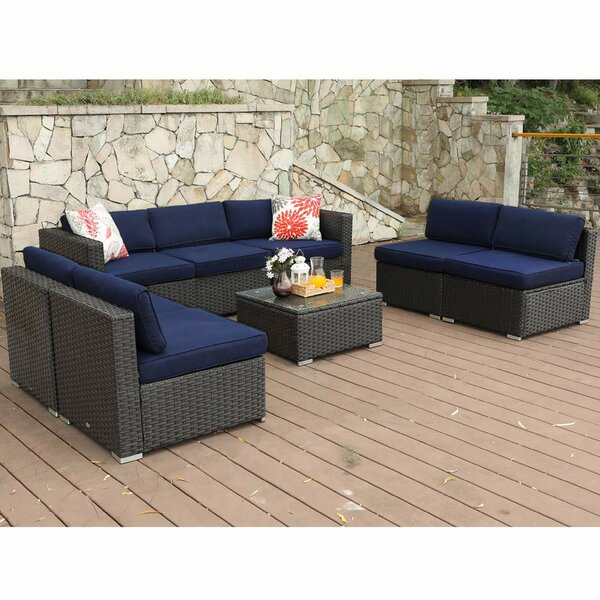 Soper Outdoor 8 Piece Rattan Sofa Seating Group with Cushions by Breakwater Bay