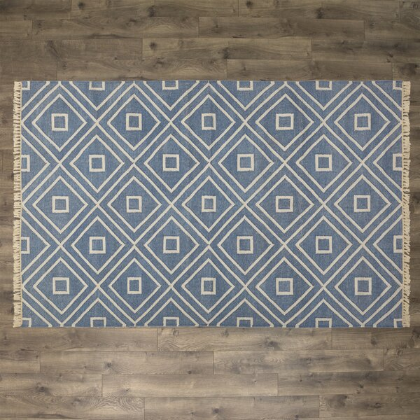 Dash and Albert Rugs Mali Hand-Woven Blue Indoor/Outdoor Area Rug ...