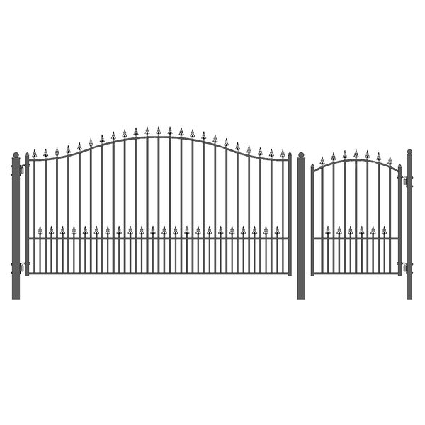 Munich Steel Single Swing Driveway Gate with Pedestrian Gate by ALEKO