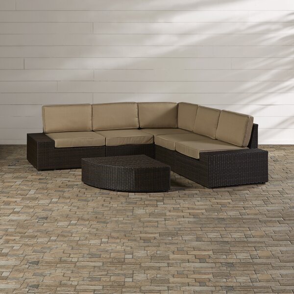 Mountview 6 Piece Rattan Sectional Seating Group with Cushions by Wade Logan