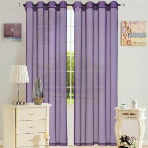 Leah Solid Sheer Grommet Single Curtain Panel