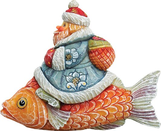 Fifield Santa on Fish Figurine Ornament by The Hol