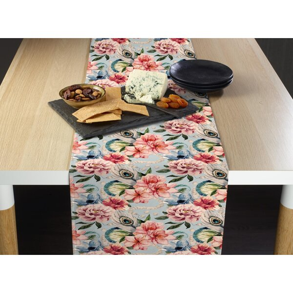 Pinegar Floral Feathers Table Runner by Bungalow Rose