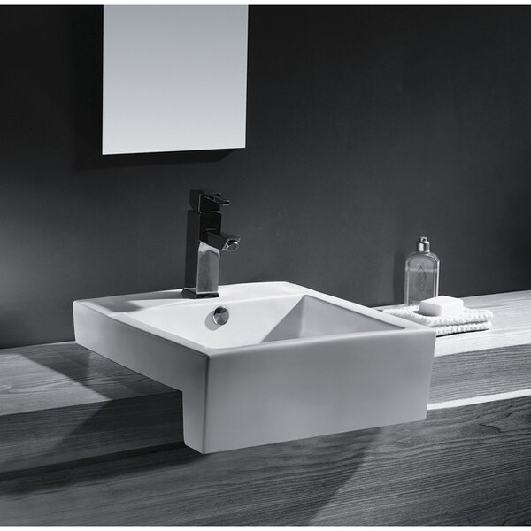 Concord Ceramic Rectangular Wall-Mount Bathroom Sink with Overflow by Kingston Brass