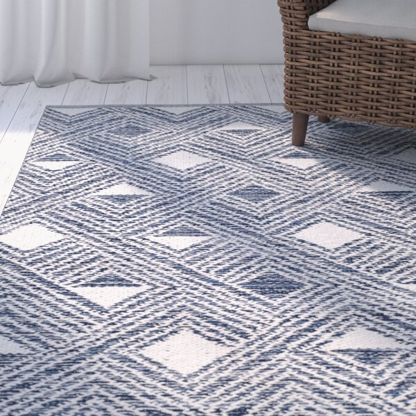 Dominica Hand-Woven Navy/Ivory Area Rug by Highland Dunes