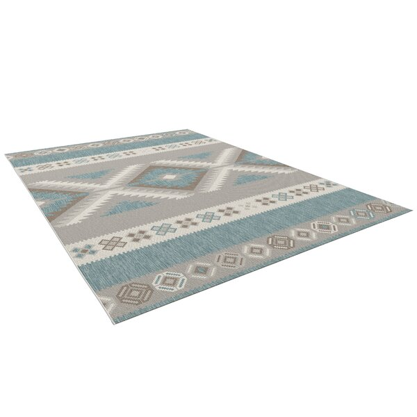 Malone Teal/Gray Indoor/Outdoor Area Rug by Union Rustic