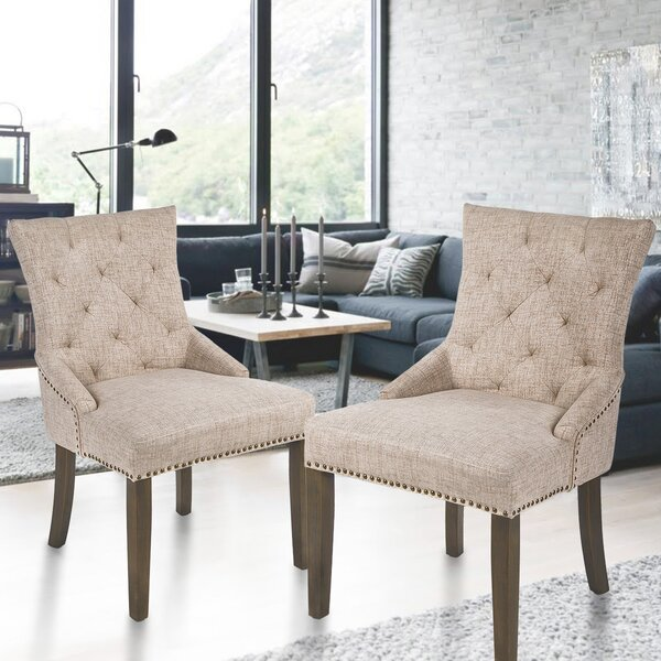 Steveson Tufted Linen Side Chair In Beige (Set Of 2) By Canora Grey