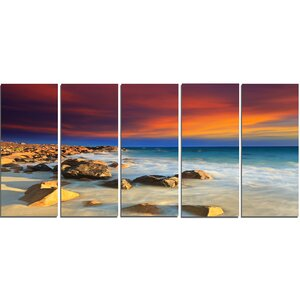 Beach with Stones on Foreground 5 Piece Wall Art on Wrapped Canvas Set by Design Art