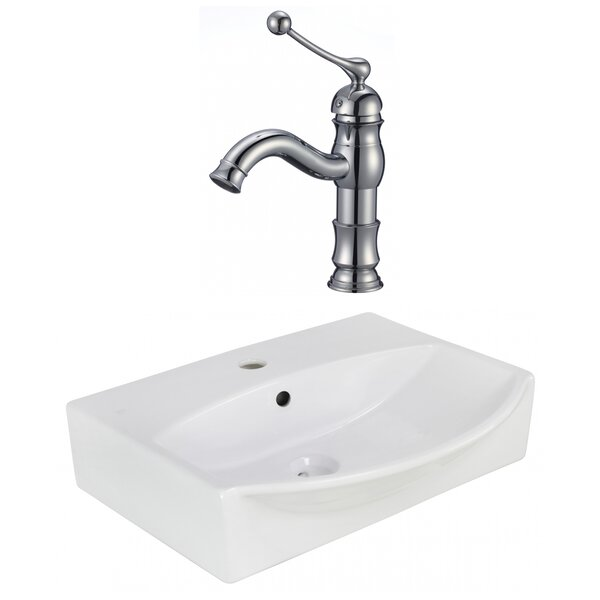 Ceramic Rectangular Wall Mount Bathroom Sink with Faucet and Overflow by American Imaginations
