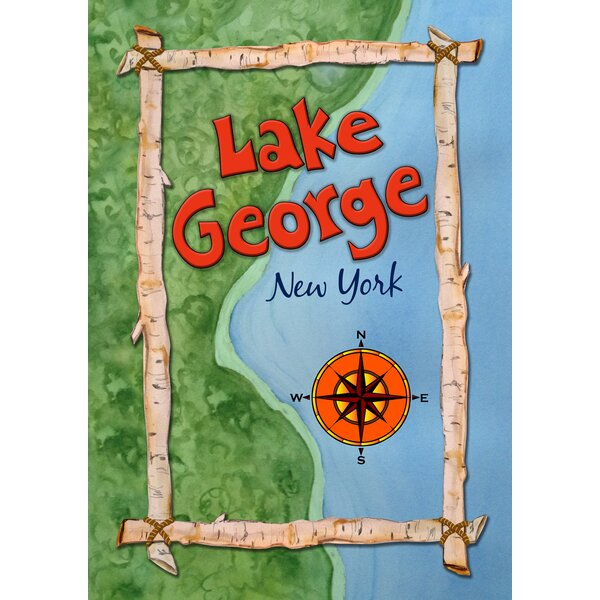 Lake George Map 2-Sided Garden flag by Toland Home Garden