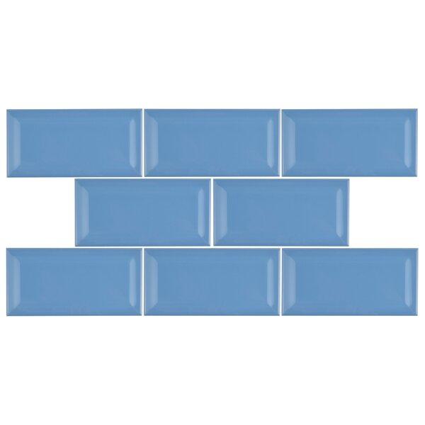 Prospect 3 x 6 Beveled Ceramic Subway Tile in Calm Blue by EliteTile