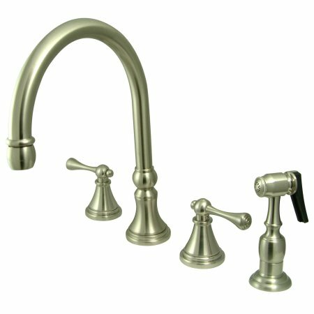 Deck Mount Double Handle Widespread Kitchen Faucet with Buckingham Lever Handle by Elements of Design