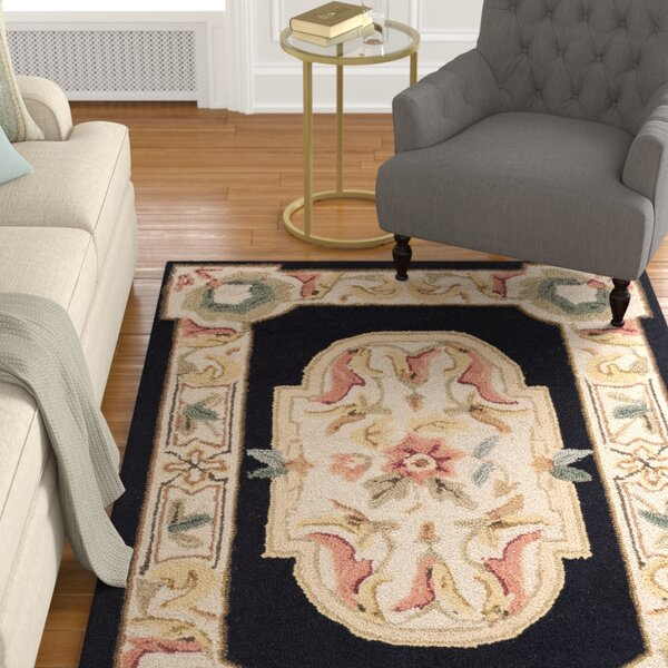 Duarte Hand-Hooked Navy/Ivory Area Rug by Astoria Grand