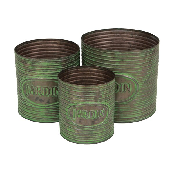 Propst 3 Piece Round Metal Pot Planter Set by August Grove