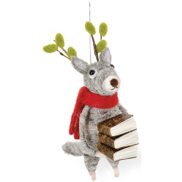 Reading Reindeer Blitzen Hanging Figurine (Set of