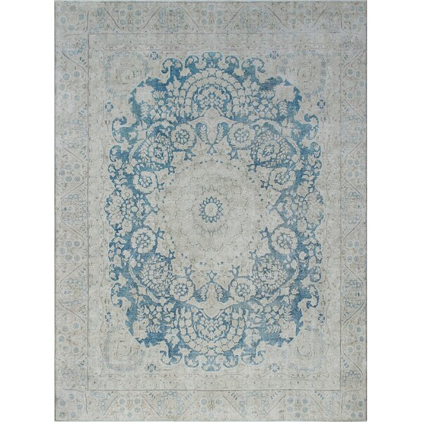 Quinault Vintage Distressed Hand Knotted Wool Blue Area Rug by Rosecliff Heights
