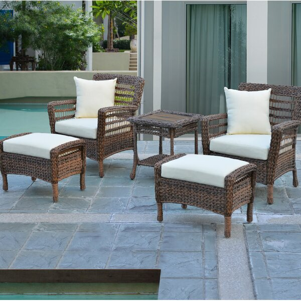 Boyles 5 Piece Conversation Set With Cushions By Rosecliff Heights