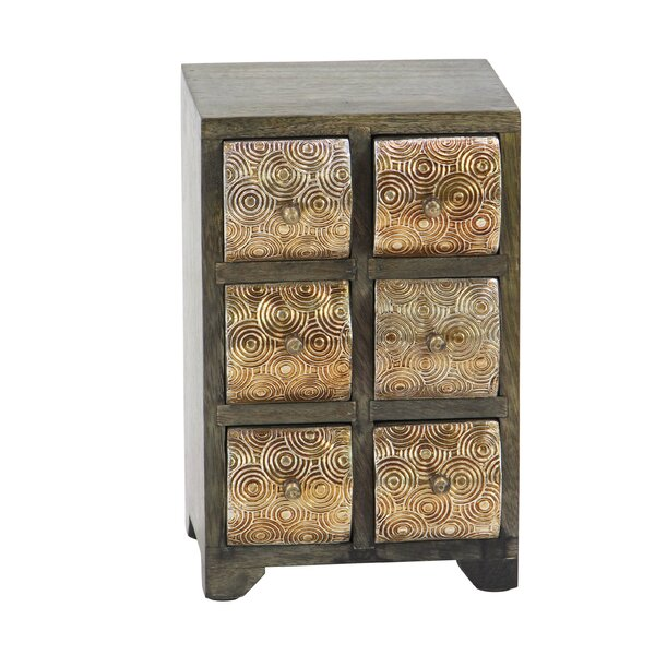 Cincinnatus Rustic Curved Square Paneled 6-Drawer Free Standing Jewelry Armoire by Bloomsbury Market