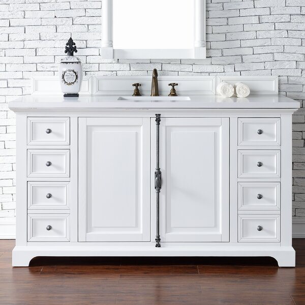Ogallala 60 Single Cottage White Stone Top Bathroom Vanity Set by Greyleigh