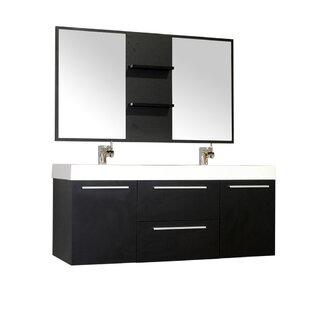 54 bathroom vanity double sink. Save to Idea Board  Wade Logan Waldwick 54 Double Wall Mount Modern Bathroom Vanity 51 55 Vanities You ll Love Wayfair