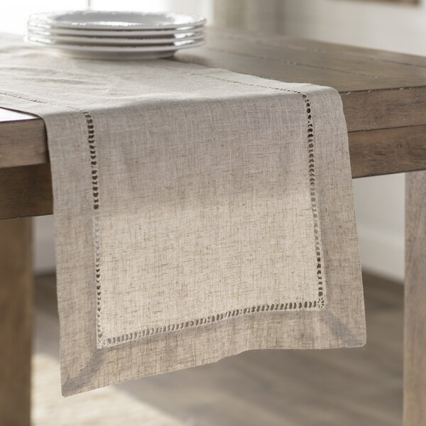 Kitt Hemstitched Table Runner by Laurel Foundry Modern Farmhouse