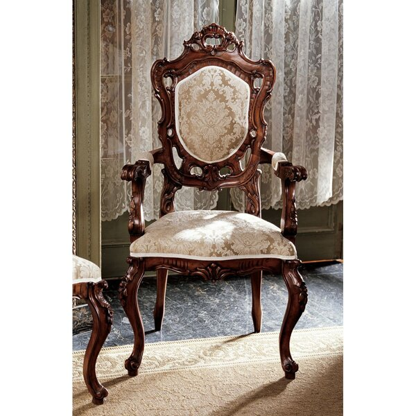 Toulon French Rococo Fabric Arm Chair by Design Toscano Design Toscano
