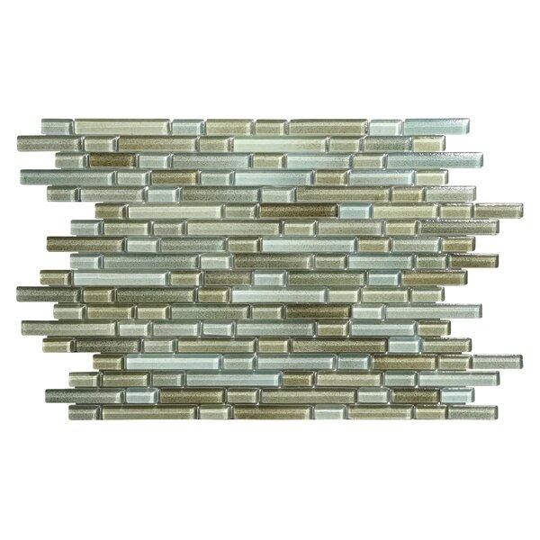 Hi-Fi Offset Linear Random Sized Glass Mosaic Tile in Brown/Green/Beige by Kellani