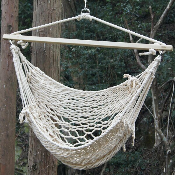 Deluxe Cotton Rope Chair Hammock by Prime Garden