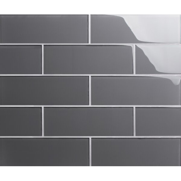 Premium Series 4 x 12 Glass Subway Tile in Glossy Ocean Gray by WS Tiles