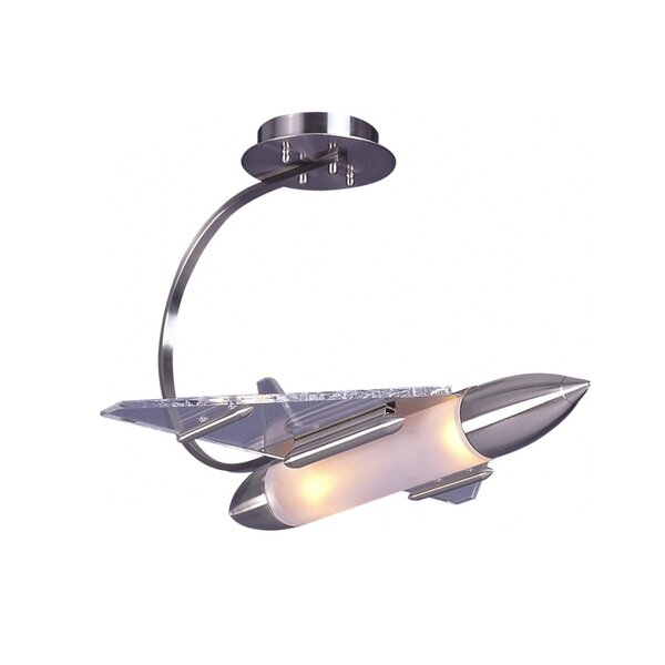 Kindel Childrens Rocket Ship 2-Light Novelty Chandelier by Zoomie Kids