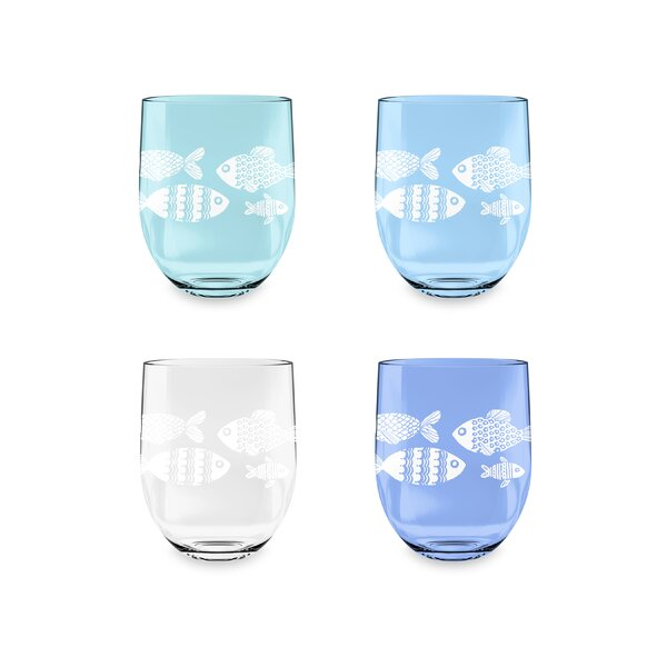 Emilio Nautical Etched Stemless 16 oz. Acrylic Every Day Glass (Set of 4) by Breakwater Bay