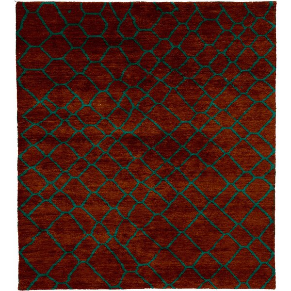 One-of-a-Kind Javi Hand-Knotted Traditional Style Red 6' x 9' Wool Area Rug