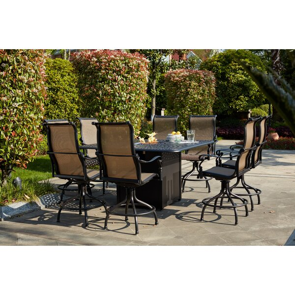 Millis 9 Piece Bar Height Dining Set with Firepit by Canora Grey